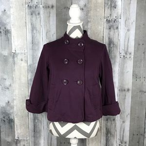 CAbi Eggplant Purple Double Breasted Jacket XS EUC